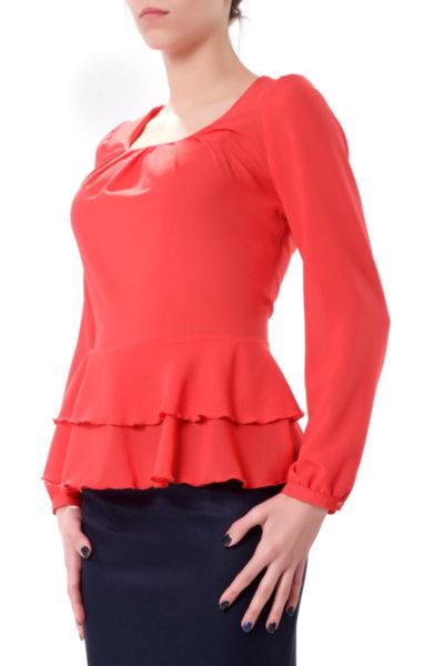 Класическа романтична блуза с волани и буфан ръкав